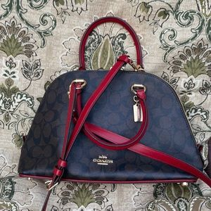 New coach Sierra satchel brown signature with red